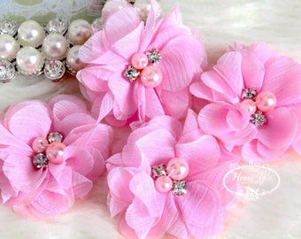 NEW: 4 pcs Aubrey  PINK - Soft Chiffon with pearls and rhinestones Mesh Layered Small Fabric Flowers, Hair accessories