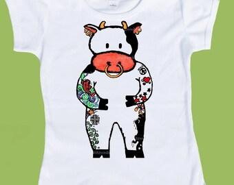 Tattooed Cow, Original Art, T-Shirt , Tattoo T-Shirt, Inked, Girls' Boys' tattoo tee, One Piece, Baby bodysiut,  ChiTownBoutique.et
