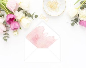 Printable Envelope Liner  | Botanical Envelope Liner | Envelope Liner Template - Blush Pink