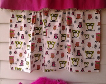 Hot pink and lime green owl curtains CLEARANCE!!