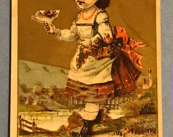Victorian Trade Card 1800s, Little Victorian Girl Selli g Flower Bouquets, R H White and Co, A Wonderful Collectible
