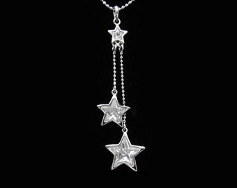 Cubic Zirconia CZ Crystal Three Star Pendant Charm Chain Necklace Silver Tone Clear