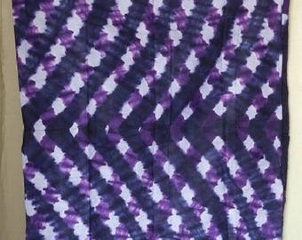 Purple and indigo fabric hand dyed stripe fabric African, sold by 180 cm x 135 cm width