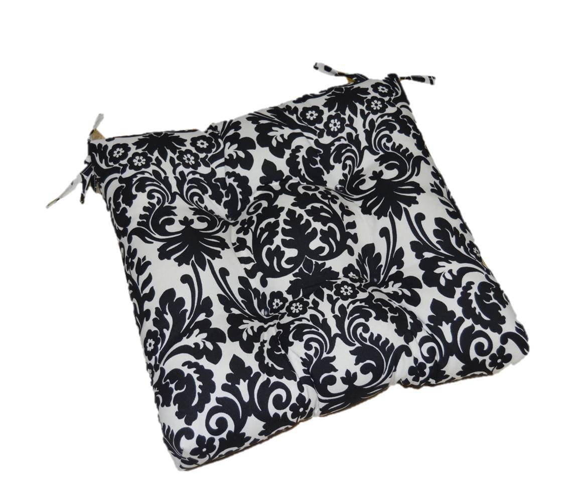 black ivory cream damask scroll print tufted cushion pad