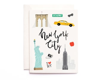 New York City Card, Illustrated NYC Greeting Card, NYC Gift