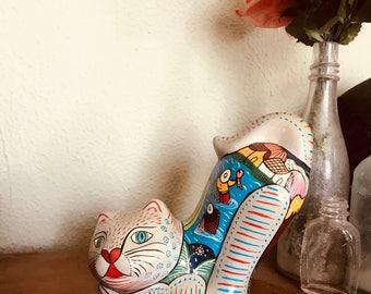 Hand Painted Ceramic Cat Figurine