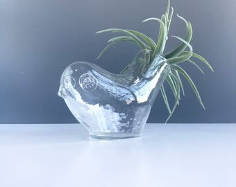 Scandinavian Modern Blown Glass Bird Vase, Vintage Modern Glass Bird, Vintage Blown Glass Bird Vase