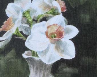 Daffodil Painting, Original Painting, Original Watercolor, Floral Art, Daffodils, Original Art, Small Painting, Pink Daffies, Still Life