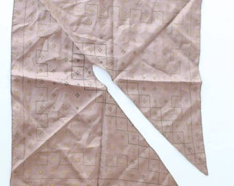 Vintage Tan and gold neck tie scarf