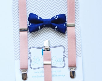 Blush Suspenders and Navy Anchor Bow Tie for Boys, Ring Bearer Outfit, Navy Bow Tie, Blush Wedding, Baby Boy Suspenders, Baby Clothing, Boy