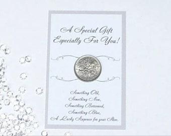 Bride wedding lucky sixpence coin gift