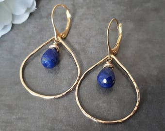 Lapis lazuli earrings, lapis earrings, gold teardrop hoop earrings, large gold hoops, lapis lazuli jewelry, blue earrings, gift for her