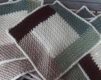 set of 12, 12 x 12 inch,crocheted,squares,afghans,lapghans,bags,supplies,crafts,pillows,tan,cream,brown,green
