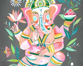Ganesha art print | Wall Art | Elephant Deity | Hindu | Watercolor Painting