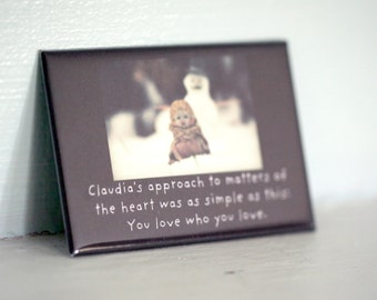 """Rectangle Magnet Claudia Porcelain Doll """"You Love Who You Love"""" Refrigerator Magnet Heavy Duty"""