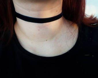 Choker - Thin Velvet choker - Necklace - Handmade - Jewelry