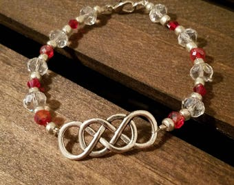 Double Infinity Bracelet with Red and Clear Glass Beads and Silver Colored Accent Beads. Lobster Clasp. FREE SHIPPING!! EB16