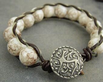 gemstone bracelet, beaded bracelet, magnesite bracelet, boho bracelet, gift for her, gemstone jewelry, white bracelet, talisman bracelet