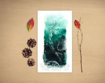 In Deep -  Under Water - Watercolor Painting by  Rachael Caringella - Tree Talker Art -