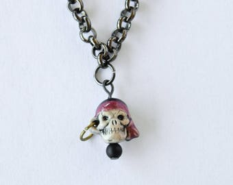 Pirate Charm Necklace / Skull / Gunmetal Chain / Gift For Her / Gift for Him / Ceramic Pirate Pendant / Halloween Necklace / Freebooter /