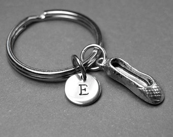 Ballet Shoes keychain, Ballet shoes charm, Ballerina keychain, personalized keychain, intial keychain, initial charm, customized keychain