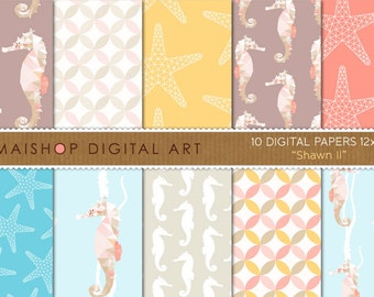 Digital Paper 'Shawn II' Blue, Yellow, Coral, Pink, Brown... Seahorse, Starfish and Diamonds Patterns for Scrapbook, Crafts, Invitations...
