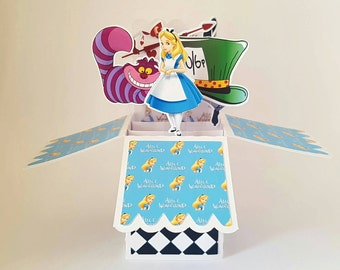 Disney Alice in Wonderland 3D pop up Personalised Greeting Card Cheshire Cat Madhatter Birthday handmade