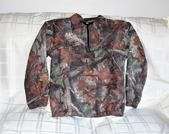Men's or Woman's Advantage Timber Camo Water Resistant w Wind Pro Fleece Lining Pullover Shirt Hunting Shirt Size Med