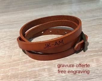 Bracelet to customize light brown leather free engraving