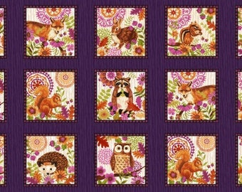 Woodland Animal Fabric Panel, Enchanted Forest Studio E 3830 58 Animal Blocks Eggplant, Bunny, Hedgehog, Raccoon, Squirrel, Owl, Fox, Cotton