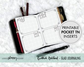 Printable Pocket Travelers Notebook | Gratitude Journal - GLAD Prompts | No2/Pocket Size TN Inserts