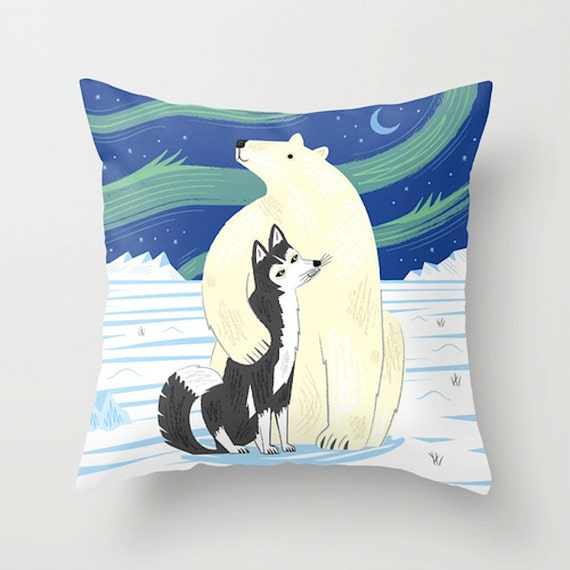 """The Polar Bear and The Husky - animal friends - Throw Pillow / Cushion Cover (16"""" x 16"""") by Oliver Lake"""