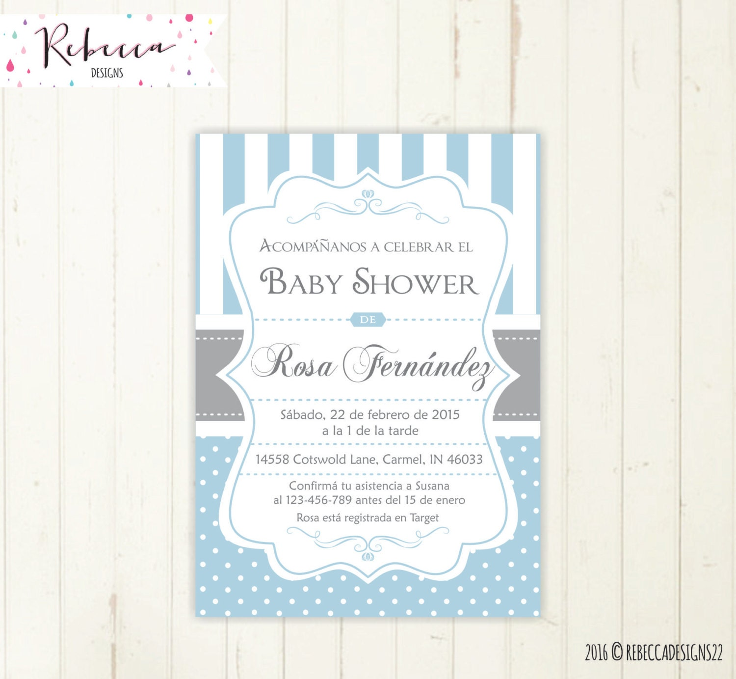 Baby shower invitation in spanish boy baby shower spanish