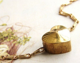 Vintage Heart necklace, solid brass heart charm vintage chain, heart necklace