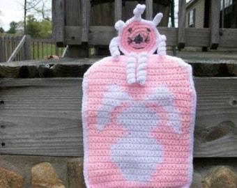 SALE: Pink Bunny Tote Bag - Bunny Design Child's Tote Bag with Playful Yarn Doll - Bunny Rabbit Playtime Purse - Child's Handmade Handbag