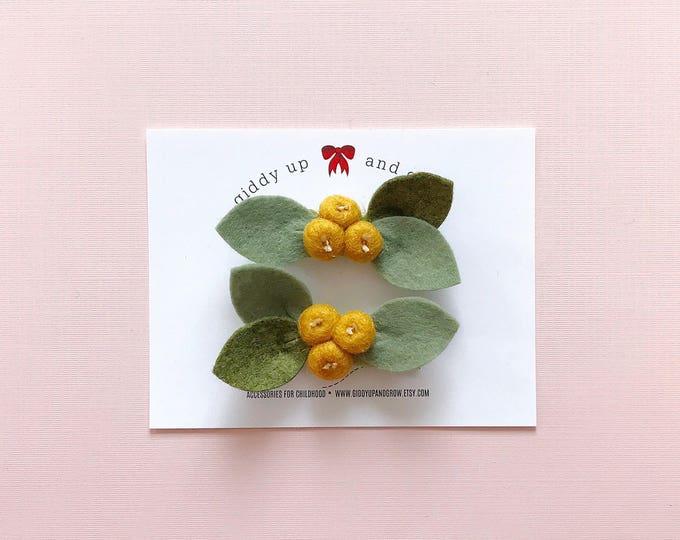 Pigtail Set Clementine Yellow Bud Flowers, Felt Flowers, giddyupandgrow