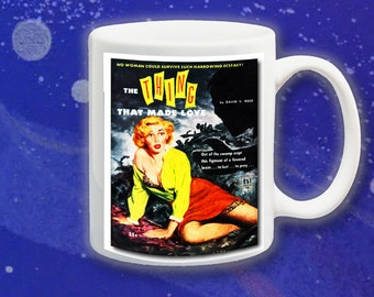 The Thing That Made Love:  funny sci-fi sleaze science fiction pulp fiction book cover mug