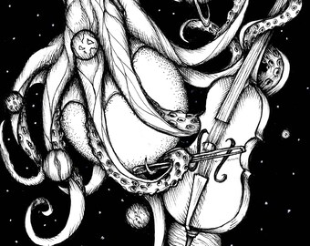 Cosmic Octopus, Giclee art print. Original drawing, Black and white art, Ink art, illustration, Fine art, art print, ink drawing, Surreal