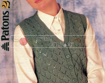 Lady's Lacy V-Neck Waistcoat 32-42in DK Patons 8107 Vintage Knitting Pattern PDF instant download