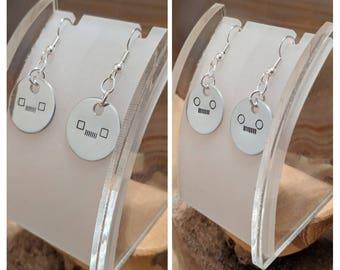 Rond et carré phares Jeep amoureux boucles d'oreilles à la main disques en aluminium embouti acier chirurgical français crochet earwires prendre votre choix!