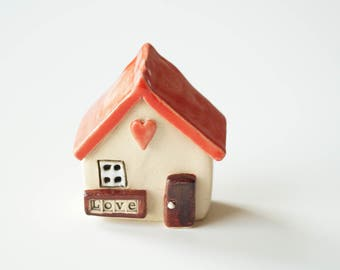 Little Ceramic Love house, Miniature house, Little rustic house, Red house, Ceramic house