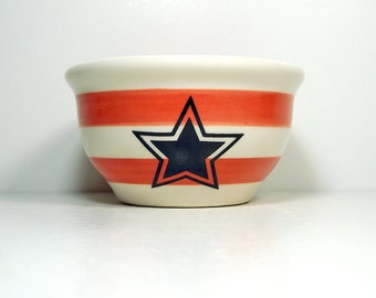 small bowl with Red-Orange stripes and 5-Pointed Star prints. Made to Order/Pick Your Colour