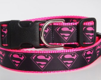 Dog Collar- Supergirl Dog Collar - Medium or Large Dog Collar - Pink Girl Dog Collar - Female Dog Collar - Superhero Dog Collar