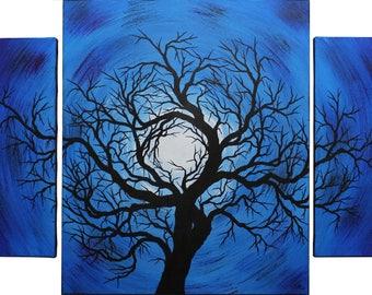 Modern triptych: night tree.