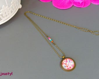 Necklace * abstract * Cabochon 25 mm * bronze chain