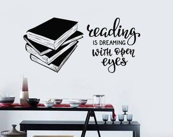 Books Vinyl Wall Decal Quote Library Reading Room Art Decor Stickers Mural (#2552di)