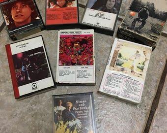 Vintage Cassette Tapes Capitol Apple Records Beatles Cream Elton John Simon Garfunkel Alices Restaurant Heart 1960s 1970s Rock Roll 8 Track