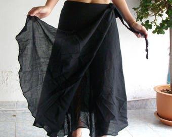 Cotton Wrap Skirt Sarong Tie Summer Sun Floaty Beach Black