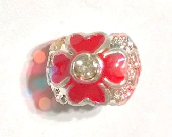 Red Rhinestone Flower Big Hole Charm Bead Spacer