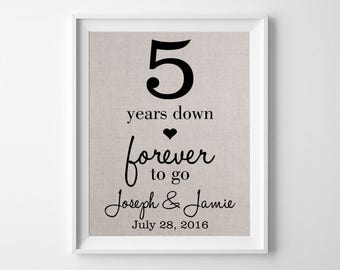 5 Years Down - Forever to Go | 5th Linen Wedding Anniversary Gift for Husband Wife | 5th Anniversary Gift | Personalized for ANY Year